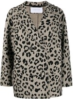 Thumbnail for your product : Harris Wharf London Animal-Print Double-Breasted Coat