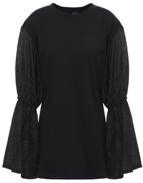 Mother of Pearl Gathered Jacquard-paneled French Cotton-terry Top