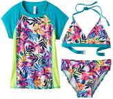 Girls 7-16 SO® 3-pc. Floral Rashguard Swimsuit Set