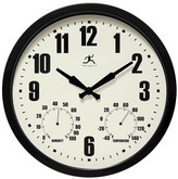 """Infinity Instruments Time and Weather Outdoor Clock - 14""""D - Black"""