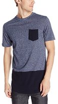 Southpole Men's Short Sleeve Scallop T-Shirt Marled Color Block with Chest Pocket