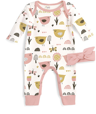 Tesa Babe Girls' Rompers Dixie - Ivory & Soft Coral Chicks Long-Sleeve Playsuit & Soft Coral Bow Headband - Newborn & Infant