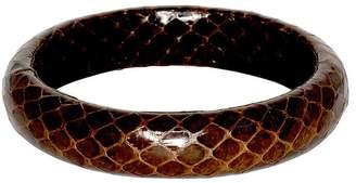 Kenneth Jay Lane Snake Leather Bangle Bracelet - Brown