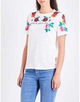 Maje Tanisha floral-embroidered linen-jersey T-shirt