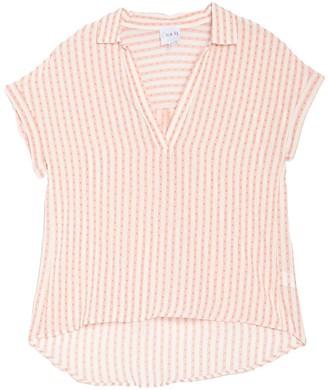Gray La Short Sleeve Striped Clipdot Woven Shirt (Petite)