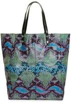 Leather double handle snake embossed shopper bag