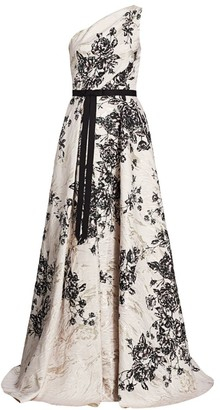 Marchesa Jacquard Floral One-Shoulder Ball Gown