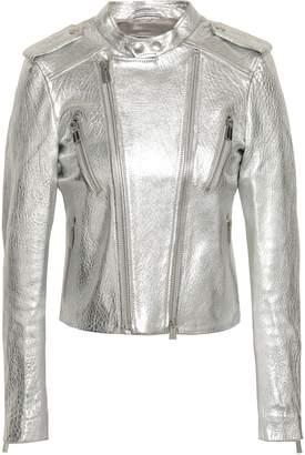 Anine Bing Metallic Textured-leather Biker Jacket