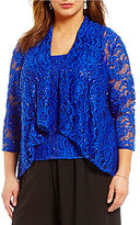 Alex Evenings Plus Sequined Lace Twinset