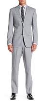 Ike Behar Grey Sharkskin Two Button Notch Lapel Wool Suit
