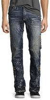Robin's Jeans Embroidered Denim Straight-Leg Jeans, Dark Blue