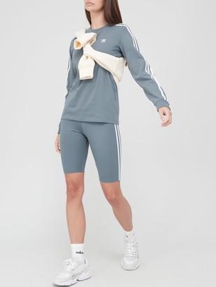 adidas 3 Stripe Long Sleeve T-Shirt - Blue