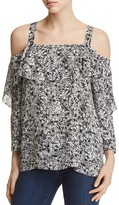 NYDJ Petites Abstract Print Ruffle Cold-Shoulder Blouse - 100% Exclusive