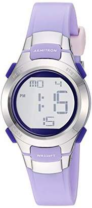 Armitron Sport Women's Silver-Tone Accented Digital Chronograph Matte Lavender Resin Strap Watch