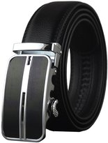 QISHI YUHUA PD Mens Casual Genuine Leather Belts Automatic Buckle Belt (Black 63,115cm)