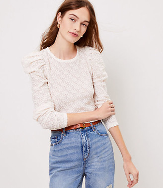 LOFT Floral Lace Pleated Puff Sleeve Top