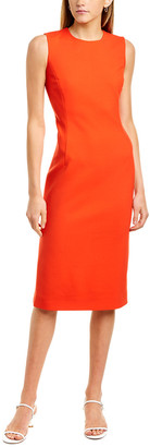 Oscar de la Renta Princess Seamed Wool-Blend Sheath Dress