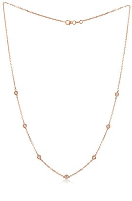 Diana M 14K Rose Gold & 0.40 TCW Diamond Station Necklace