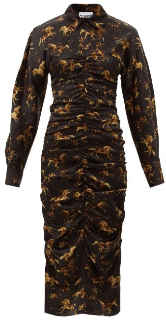 Ganni Ruched Horse-print Silk-blend Satin Shirt Dress - Black Print