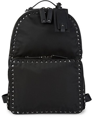 Valentino Studded Leather-Trim Backpack