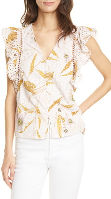 Ted Baker Adaale Cabana Ruffled Button Front Top