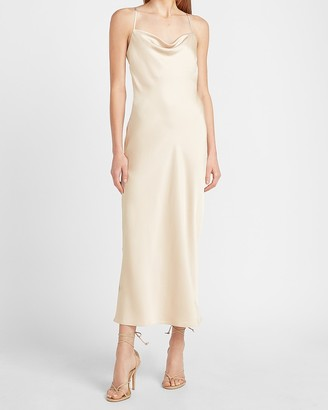 Express Satin Cowl Neck Maxi Slip Dress