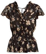Rebecca Taylor Floral-print Ruffled Silk-blend Blouse - Womens - Black Multi