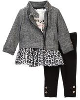 Calvin Klein Animal Print Mesh Bottom Tunic, Jacket, & Legging Set (Baby Girls)