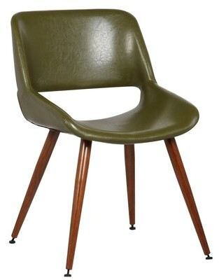 """George Oliver Loughran 20.08"""" W Faux Leather Side Chair Fabric: Green Faux Leather"""