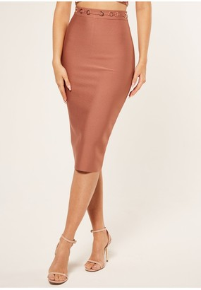 The Girlcode Bandage pencil skirt with ring detail coord in