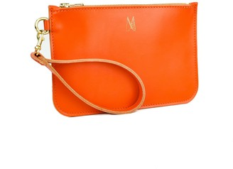 Village Leathers Soft Leather Clutch Bag - Orange