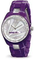 Miss Sixty Ladies Watch Sra003 In Collection Jungle, 3 H and S, Silver Dial and Purple Strap