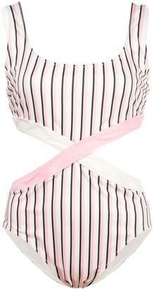 Morgan Lane Jeysa striped-print one piece