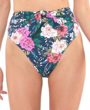 Jessica Simpson Floral-Print High-Waist Bikini Bottoms Women's Swimsuit