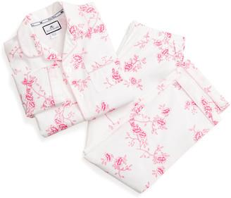 Petite Plume Girl's English Rose Floral Print Two-Piece Pajama Set, Size 6M-14