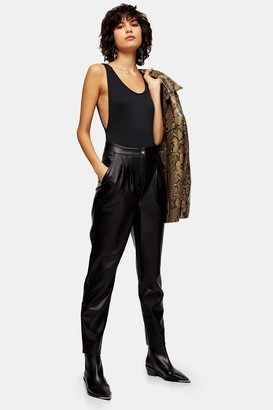 Topshop Black Faux Leather Peg Pants