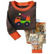 SS&CC Boys' Car Printing Long Sleeve 2 Piece 100% Cotton Pajama set(2-7 Years)