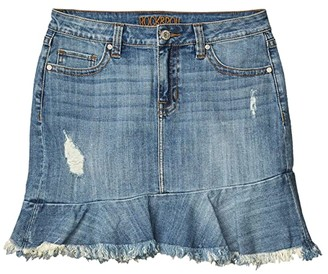 Rock and Roll Cowgirl Mid-Rise Denim Ruffle Hem Skirt in Light Wash 69-5273 (Light Wash) Women's Skirt
