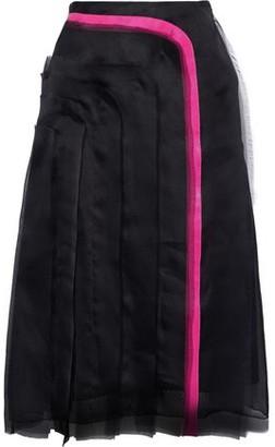 Lanvin Grosgrain-trimmed Frayed Silk-organza Skirt
