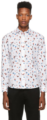 Kenzo White Little Painted Tiger Slim-Fit Shirt