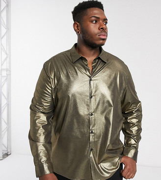 ASOS DESIGN Plus regular fit gold metallic shirt