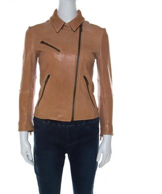 Prada Beige Lamb Leather Zip Front Biker Jacket S