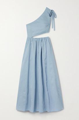 Marysia Swim Alberobello One-shoulder Cutout Cotton-seersucker Midi Dress - Sky blue