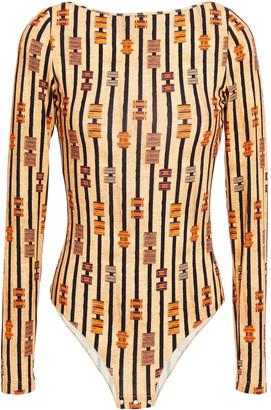 Stella Jean Open-back Printed Stretch-jersey Bodysuit