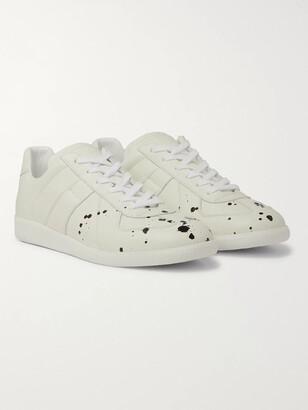 Maison Margiela Replica Paint-Splattered Full-Grain Leather Sneakers