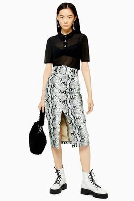 Topshop Womens Snake Effect Pu Pencil Skirt - Sage