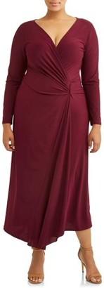 Ella Samani Women's Plus Size Long Sleeve Surplice Maxi Dress with Embellishment