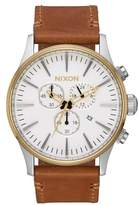 Nixon The Sentry Chronograph Leather Strap Watch, 42mm