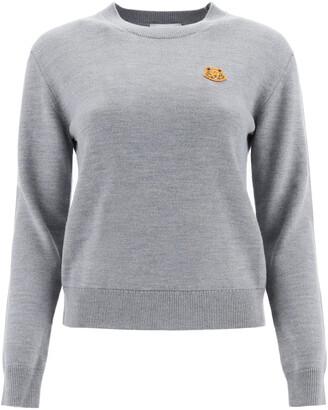 Kenzo TIGER PATCH SWEATER L Grey Wool