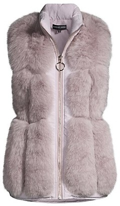 Adrienne Landau Fox Fur & Nylon Sectioned Vest